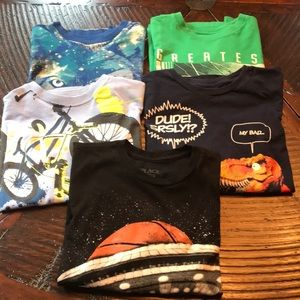 Lot of 5 Long Sleeve Graphic T's Size 7-8